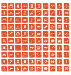 100 mirror icons set grunge orange vector