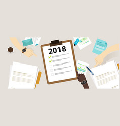 2018 new year resolution and target business check vector image