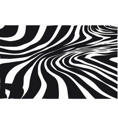 Abstract warped black and white lines background vector