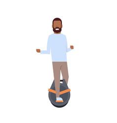 african boy riding mono wheel over white vector image