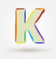 Alphabet letter K Watercolor paint design element vector