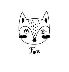 avatar cute face fox portrait vector image