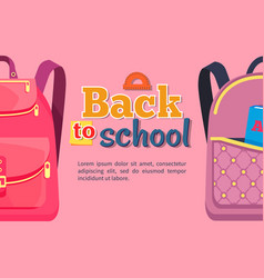 Back to school poster with backpacks for children vector