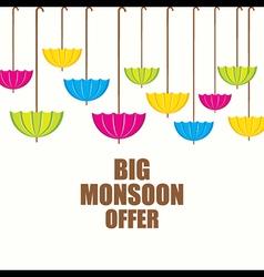 Big monsoon offer banner design using umbrella vector
