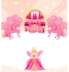 Birthday card with unicorns castle and sweet fairy vector