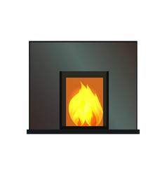 Black rectangular fireplace color template vector