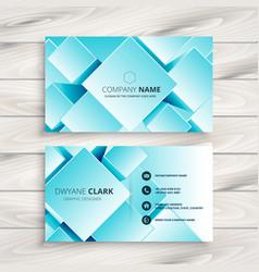 Blue geometric business card design vector