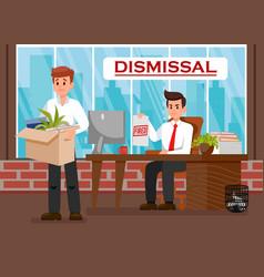 Boss dismissing employee flat vector