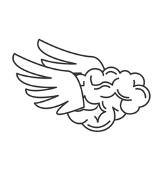 Brain with wings icon vector