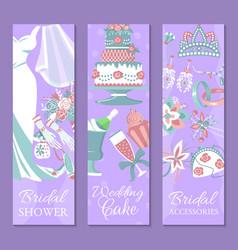 bridal shower set banners vector image