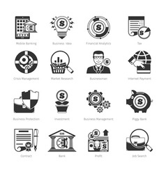 Business And Finance Black Icons vector image
