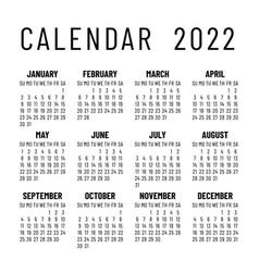 Calendar 2022 year english simple square wall vector