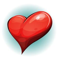 Cartoon big red heart icon vector