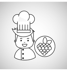 Cartoon chef gourmet grape vector
