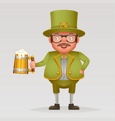 cartoon man with green beer saint patric day vector image