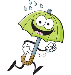 Cartoon umbrella running vector image