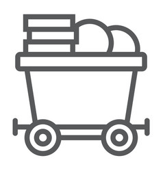 Coins on mine trolley line icon finance and money vector