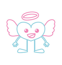 color line happy heart angel kawaii with arms and vector image