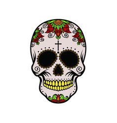 Color skull with yellow teeth vector