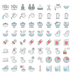 cooking instruction icon material for use vector image