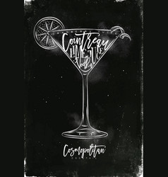 cosmopolitan cocktail chalk vector image
