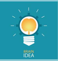 Creative light bulb with brain and gear vector