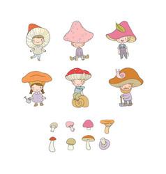 cute cartoon gnomes mushrooms forest elves vector image
