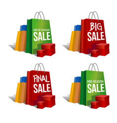 Discount signs set of colorful paper bags vector