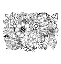 Doodle floral pattern in black and white vector