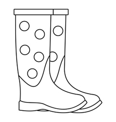 Dotted rubber boots icon outline style vector