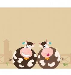 farm animals two happy cows vector image vector image