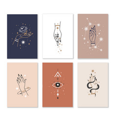 female hands cards linear woman hand combination vector image