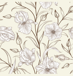 Floral seamless pattern flower swirl background vector