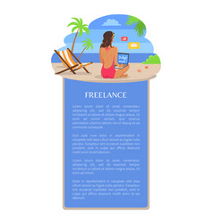 Freelance poster template add text woman back view vector