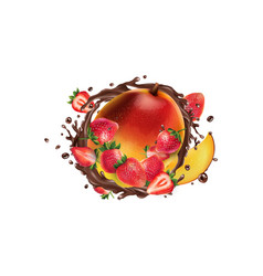 fresh mango with strawberries in a chocolate vector image