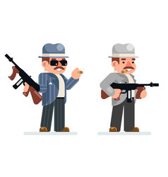 Gangster dangerous retro criminal submachine gun vector