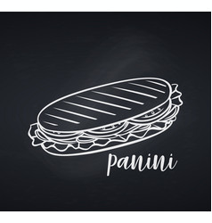 hand drawn panini or sandwich vector image