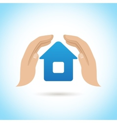 Hands hold home poster vector