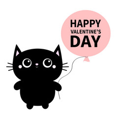 happy valentines day black cat toy icon holding vector image