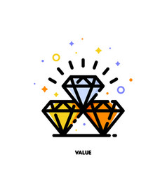 icon of diamonds for value concept flat outline vector image