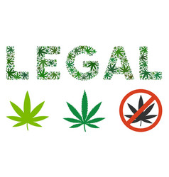 Legal label collage of cannabis vector