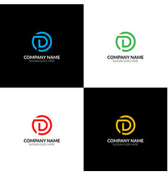 Letter d in circle logo icon flat design vector