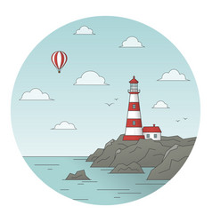 lighthouse on rock and balloon vector image