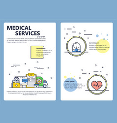 line art medical services poster template vector image