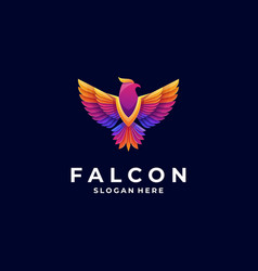 Logo falcon gradient colorful style vector