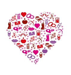 Love icons in heart vector