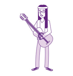 Man playing the guitar character hippy lifestyle vector
