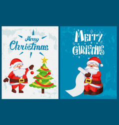 merry christmas saint nicholas checking wishes vector image