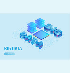 modern 3d isometric design concept for big data vector image