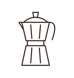 Moka pot coffee maker isolated linear icon vector